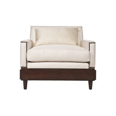 Eco Friendly Furnture and Lighting - Christopher Lounge.Lounge Chair made with sustainable wood and Linen Fabric. All ecofriendly filling. Mink Stain, Antique Bronze Nail Head