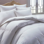 None - European Heritage Down Allure Oversized Hypoallergenic White Down Comforter - The European Heritage Down Allure Oversize Summer Weight Comforter is a classic value,featuring a 233 thread count,100-percent Cambric cotton cover filled with a lofty 560 fill power white down.