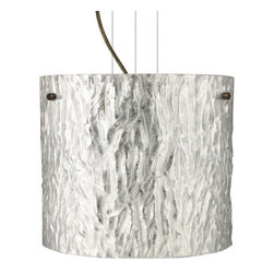 Besa Lighting - Besa Lighting 1KG-4184SS-LED Tamburo 1 Light LED Cable-Hung Pendant - Tamburo is a classic open-ended cylinder of handcrafted glass, a shape that will stand the test of time. Our Stone Silver Foil glass is a clear blown glass with an outer texture of coarse sandstone, with distressed metal foil hand applied to the inside. Inspired by the elements of nature, the appearance of the surface resembles the beautiful cut patterning of a rock formation. This blown glass is handcrafted by a skilled artisan, utilizing century old techniques that have been passed down from generation to generation. Each piece of this decor has its own artistic nature that can be individually appreciated. The cable pendant fixture is equipped with three (3) 10' silver aircraft cables and 10' AWM cordset, and a low profile flat monopoint canopy.Features: