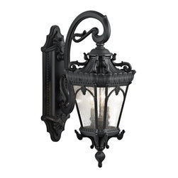 Kichler - Kichler Tournai 2-Light Textured Black Wall Lantern - 9357BKT - This 2-Light Wall Lantern is part of the Tournai Collection and has a Textured Black Finish. It is Outdoor Capable.