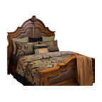 Harvey King Coverlet Set - Copper, Teal and Black tribal pattern Chenille, accented with solid Black and Teal pillows.