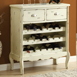 Monarch - Antique White Veneer 37in.H Traditional Wine Chest - Dress up your home with this distressed antique white wine storage chest. Hold up to 18 bottles and includes extra storage with drawers above. Entertain your guests with this fabulous wine chest.