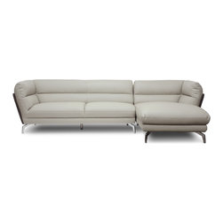 """Baxton Studio - Baxton Studio Quall Gray Modern Sectional Sofa - Sleek city style shines in this two-piece contemporary sofa. The Quall Sectional revolutionizes your home�۪s interior with clean, simple lines built from the ground up with a wooden frame, foam cushioning, and light gray faux leather. Contrasting dark gray faux leather flanks the sectional on both the right and left sides. Shiny chrome-plated steel legs add even more urban oomph to the design and are tipped with non-marking feet for protection against scuffs and scratches on sensitive surfaces. The sofa and chaise portions of this piece connect to one another with a metal bracket positioned between the sections. Made by Chinese craftsmen and imported, the Quall Contemporary Sectional requires minor assembly. Maintain the out-of-the-box new sectional look by wiping the faux leather clean with a damp cloth before immediately wiping dry. 107.875""""W x 62.25""""D x 30""""H , seat'sion: 87""""W x 51""""D x 17""""H, sofa section: 70""""W x 34""""D x 30""""H, sofa seat'sion: 60""""W x 22.5""""D x 17""""H, chaise section: 38""""W x 62.25""""D x 30""""H,chaise seat'sion: 28""""W x 51""""D x 17""""H"""
