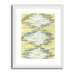 MonDeDe - Green & Yellow Reflection I - If the look of subway tiles speaks to you, then this green- and yellow-hued giclee print that features a diamond-shaped pattern will be right up your alley. Manufactured in the USA, it printed on archival paper and features a hand-assembled frame.