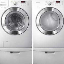 """Samsung - WF365BTBGWRGPEDSET Two Piece Washer/Dryer with Pedestal Set  27"""" 3.6 cu. ft. Lar - The Samsung Appliance WF365BTBGWR 36 Cu Ft high efficiency front load washer with steam in white is not only quiet but also eliminates stains without pretreatment At 36 cubic feet it can wash 19 baskets of laundry at once VRT technology significantly..."""