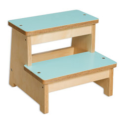 Neil Step Stool, Turquoise - Let's be honest every kiddo needs a step stool.  From the time they are a toddler they need a little boost doing everyday things and a step stool is easily the most used pieced of furniture in the home.  The Neil Step Stool by EllaMenoPea is more than up to the challenge of being that staple in your home.  It's built like a brick house using eco-friendly materials yet it's super stylish, so you won't feel like you have to tuck it away when friends are over.  Actually, you'll leave it out because you know you'll use it just as much as your kiddo will!