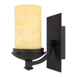 Quoizel Lighting - Quoizel LP8601IB La Parra 1 Light Bathroom Vanity Light, Imperial Bronze - Long Description: This stately look is influenced by Moorish, Spanish and Gothic styles. The intricate metal scrollwork is made of handforged iron, and the handmade shades emit a soft radiance, appearing much like real candles.
