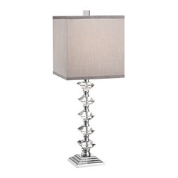 "Lamps Plus - Contemporary Deco Collection Colonnade Crystal Table Lamp - The Stacked crystal table lamp adds stunning sparkle and remarkable luxury to contemporary or Art Deco inspired home decor. This style features a column of five stacked diamond-shaped crystals that lead up to a handsome gray square lamp shade. A gleaming chrome finish stepped stand and hardware complement the already lustrous look.  Crystal table lamp. Collonade design from the Deco collection. Gray square shade. Stepped chrome finish stand. Maximum 100 watt or equivalent bulb (not included). 26"" high. Shade is 10"" across the top 10"" across the bottom 10"" high.  Crystal table lamp.  Colonnade design from the Deco collection.  Gray square shade.  Stepped chrome finish stand.  Maximum 100 watt or equivalent bulb (not included).  26"" high.  Shade is 10"" across the top 10"" across the bottom 10"" high.  on-off switch"