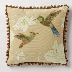 Corona Decor - Birds in Flight Light Peach Pillow - -80% cotton 20% wool.  -Made in france.  -Finished with hand tied fringe in the USA.  -Zippered with poly inserts.   -Dry clean only.   Corona Decor - PF5173P/L