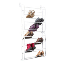 Richards Homewares - Overdoor 24-Pair Shoe Rack - Nothing in the home creates clutter like shoes. One of the most handy and space saving devices you can buy for your home is a shoe organizer. However, if you could find one that maximizes wasted space at the same time as it organizes shoes, you would essentially be doubling your investment. Consider this Over The Door Shoe Organizer from Richards Homewares. It fits cleverly over any standard interior door, leaving your shoes to hang neatly behind it where no one will see them. Over The Door Shoe Organizer is crafted in simple and neutral white resin. It is durable and flexible. It is the ultimate shoe organizer, holding twenty-four pairs of shoes or small dress boots. Few floor models can hold that many shoes, and this shoe rack will leave no footprint on your closet or entryway floor, utilizing the wasted space behind any door, instead.