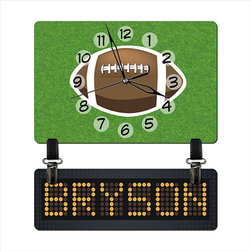 Customized NFL Children's Wall Clock by Hour Hands - It's always game time with a cute personalized clock like this one.