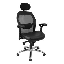 Flash Furniture - Flash Furniture High Back Super Mesh Office Chair with Black Leather Seat - Mesh office chairs can keep you more productive throughout your work day with its comfort and ventilated design. The breathable mesh material allows air to circulate to keep you cool while sitting. Finding a comfortable chair is essential when sitting for long periods at a time. The high back design relieves tension in the lower back, preventing long term strain. The waterfall front seat edge removes pressure from the lower legs and improves circulation. Chair easily swivels 360 degrees to get the maximum use of your workspace without strain. The pneumatic adjustment lever will allow you to easily adjust the seat to your desired height. The adjustable armrests are beneficial for adjusting to different body types. The slim profile of a mesh chair will have your office at the cutting edge.