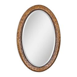 "Capiz Oval Vanity Mirror - Heavily Antiqued Dark Capiz Shell With Metal Rope Details. Mirror Has A Generous 1 1/4"" Bevel."