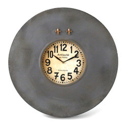 """Zentique - Zentique Decor Paris Small Wall Clock - Fusing classic European design with simple rustic charm, understated elegance defines Zentique's collection of fine home furnishings. With vintage inspired numbers, this Paris wall clock feels like an antique find. Two brass fleur de list magnets accent its distressed metal frame perfect for a kitchen, office or living room. Clock measures 23""""W x 3.5""""D x 23""""H ."""