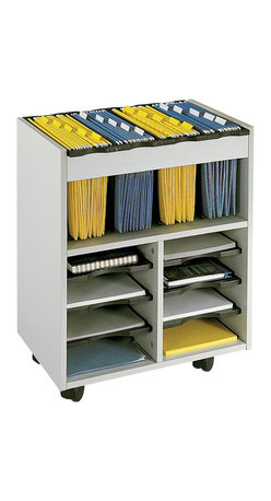 Files Cart with 6 Pull-Out Shelves in Gray - Safco - Filing Cabinets ...