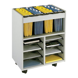 "Safco - Safco Go Cart Mobile Metal Hanging Files Cart with 6 Pull-Out Shelves in Gray - Safco - Filing Cabinets - 5390GR - Go-Go Office Gadget! Go Cart your files with the mobile cart. This innovative mobile cart has adjustable literature trays for storing flat materials and tubs for hanging files. Constructed of furniture-grade compressed wood with laminate finish. Includes four removable plastic tubs each offering 5"" of space for letter-size hanging files (not included). Six pullout letter-size shelves form up to 8 letter size compartments. Mobile on four casters (2 locking)."