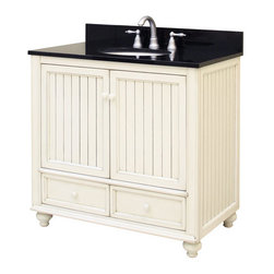 "Sunny Wood - Sunny Wood BB3621D Burnished White Bristol Beach 36"" Wood Vanity - 36"" Wood Vanity Cabinet from the Bristol Beach CollectionThe Bristol Beach collection of vanities and mirrors is the perfect complement for those looking for a fresh, seaside feeling in their bathroom.  With its lightly distressed finish and the beaded wainscot style doors and side panels, this vanity collection sets itself apart.  Features include full face frame construction, turned feet with adjustable levelers, and dual mount drawer slides.   The Bristol Beach collection also features ample storage and a variety of accent mirrors.Product Details:Dimensions: 36""W x 21""D x 34""HConstructed of Maple hardwoods and veneers2 Door, 2 Drawer DesignFully Inset Bottom DrawersMildly Distressed Burnished White FinishTurned Feet with Adjustable Foot TabsSide Panels Include Bead Board InsertAmple interior storageBrass decorative hardwareCrated and shipped assembledBristol Beach vanities: 30"" (BB3021D), 36"" (this model), 48"" (BB4821D)Finish Distressing Technique Applied to Give Character and Create a ""Living Finish"" Appearance"