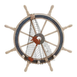 Benzara - Wood Ships Wheel in Meticulously Carved Finial Work - Aesthetically designed, this wooden ship-wheel adds a touch of maritime decor to your home. It lends a seaside feel to your living space and inspires the nautical dream in you. Crafted to perfection, this piece of home decor is designed with intricate details that make it a perfect sailor's wheel. The attractive with a meticulous carved finial work and the long spokes attached to the center further enhances its charm. The strong and stylish sailor's wheel is dark grey colored which highlights its surpassing beauty. The orange colored crabs caught on the net, which is draped on the wheel further adds to this eclectic piece of home decor. The edgy home decor accessory also boasts of few sea shells sticking onto the net to add to the seaside effect. This magnificent sailor's wheel is sure to complement the decor of your living space with elegance.