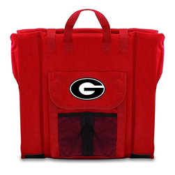Picnic Time - University of Georgia Stadium Seat in Red - The Stadium Seat is ideal for anyone who enjoys sporting events, concerts, or other arena activities. This padded seat is made of durable 600D polyester and provides maximum seat support, which is especially useful when sitting on hard bleacher seats or benches. EPE foam in the seat's core also insulates your seat from cold bleachers. A large zippered pocket keeps all of your essentials within reach. Convenient carry straps allows the seat to be carried as a folded tote. You'll want to take the Stadium Seat to every spectator event to ensure your seating comfort.; College Name: University of Georgia; Mascot: Bulldogs; Decoration: Digital Print