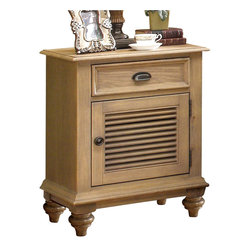 Riverside Furniture - Riverside Furniture Coventry Shutter Door Nightstand in Driftwood - Riverside Furniture - Nightstands - 32469 - Riverside's products are designed and constructed for use in the home and are generally not intended for rental, commercial, institutional or other applications not considered to be household usage.