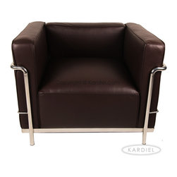 """Kardiel Le Corbusier Style LC3 Chair, Choco Brown Aniline Leather - The Le Corbusier sofa set series was originally designed in 1928 for the Maison La Roche house in Paris. The design is the modernist response to the traditional club chair. The series comes in a smaller version referred to as the LC2 and a larger version known as the LC3 considered more appropriate for practical living purposes. Remarkably comfortable, Le Corbusier often referred to the pieces as """"cushion baskets"""". A striking feature of the LC3 is the externalized metal frame supporting the base, extending as the legs and running the entire length of the piece. Its not just the front of the LC3 that is attractive, the metal frame work means design detail from the sides and back allowing for easy placement even in the middle of a room. The Le Corbusier LC3 set is often used in a group of 2 chairs (1 seat version) and a single sofa or love (2 or 3 seat versions). Kardiel offers the highest quality Le Corbusier LC3 Grande' reproduction on the market. We specialize in this series and under"""