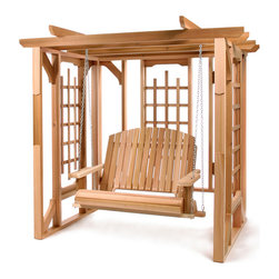 All Things Cedar - Cedar Pergola Swing Set - Heavy Cedar Beams , Lattice Sides , Inviting Pergola Style , Comes Complete With PS50 Swing, Chain and Quicklinks. Item is made to order.