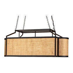 Wiggins Rectangular Chandelier - Black & Natural Burlap - Reminiscent of a Japanese box kite with its stark and stylish black iron frame around a natural cloth diffuser, the Wiggins Rectangular Chandelier is a chic touch in a transitional room.  The geometric shape of this hanging light is softened by rounded shorter ends for a cultivated look, while the jute-burlap blend covering the walls offers a hint of warmth.  Four slender chains airily support the wide, architectural iron frame's graphic corners.