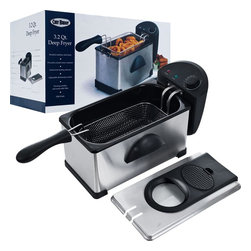 Chef Buddy - Electric 3.2 Qt. Deep Fryer Stainless Steel - Power: 1500W. Oil Capacity: 3.2 Quarts. Adjustable Thermostat Control. Brushed Stainless Steel Body. Porcelain Enamel Inner Container. Immersion Heating Element. Viewing Window and Removable Filter. Wire Mesh Basket (Holds Up to 3 lbs. of Food). Cool Touch Handle. Power Indicator Light. Heat Indicator Light. AC120V~60Hz. Two Prong Cord Length: 29 inches. 23.375 in. L x 8.75 in. W x 9.25 in. H (8 lbs.)Prepare your favorite fried foods in the comfort of your own home with the 3.2 Quart Deep Fryer by Chef Buddy. The Chef Buddy 3.2 Quart Deep Fryer offers a full range of temperature control and is equipped with an extra large frying basket, perfect for parties and family gatherings. Create delicious fried foods from wings, to onion rings to french fries, quickly and easily with the Chef Buddy 3.2 Quart Deep Fryer.