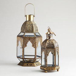 Clear Tabletop Lantern - Arabian nights glow with these beautifully detailed antiqued brass tea light lanterns.