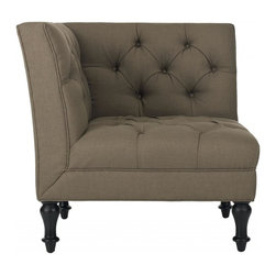 Safavieh - Ian Corner Chair - A contemporary iteration of a loveseat and far more cozy than its traditional counterparts, the Ian club chair's sleek and angular lines are softened with button-tufting. With turned legs in black-finished birch wood, and olive-toned linen polyester upholstery, Ian becomes a focal point in living room, family room or bedroom.