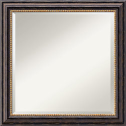 Amanti Art - Tuscan Square Wall Mirror - You'll be hard pressed to look at your reflection; you'll be too busy admiring this handsome square wall mirror's dark-brown frame, bronze-accented beading and distressed, black slope.