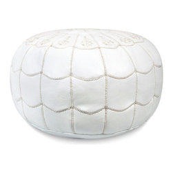 Ikram Design - Arch Designed Moroccan Leather Pouf, White, Arch Design - Arch designed poufs are stylish and beautiful, These Moroccan poufs will fit seamlessly into any d̩cor and they're sure to delight every member of the household. They are great for kids rooms, your bedroom, or even the office; the arch-designed pouf is elegant and offers a great addition to any home. Because they are available in many colors, we are sure you will find one that takes your fancy right away, They come pre-stuffed with filling fiber.
