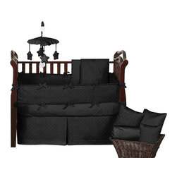 Sweet Jojo Designs - Minky Dot Black 9-Piece Baby Crib Bedding Set by Sweet Jojo Designs - The  baby bedding by Sweet Jojo Designs includes: comforter, bumper, dust ruffle, fitted sheet, toy bag, pillow, diaper stacker and 2 window valances.