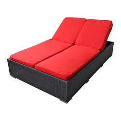 Modway - Evinve Two-Seater Outdoor Chaise Recliner In Espresso With Red Cushions - All Weather Synthetic Rattan Weave