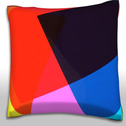 Custom Photo Factory - Texture Overlapping Polyester Velour Throw Pillow - Still Life Texture of Overlapping Colorful Geometric Shapes Pillow 18 Inches x 18  Inches.  Made in Los Angeles, CA, Set includes: One (1) pillow. Pattern: Full color dye sublimation art print. Cover closure: Concealed zipper. Cover materials: 100-percent polyester velour. Fill materials: Non-allergenic 100-percent polyester. Pillow shape: Square. Dimensions: 18.45 inches wide x 18.45 inches long. Care instructions: Machine washable