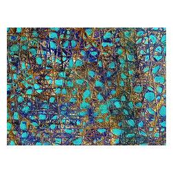 Bryan Boomershine Art - Blue Abstract Original Painting - Title: The Blue Web 0001