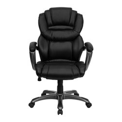 Flash Furniture - High Back Black Leather Executive Office Chair with Leather Padded Loop Arms - This popular contemporary high back office chair features soft black leather upholstery, an overstuffed seat, back and arms, and contemporary ergonomic styling to provide an unmatched sitting experience. Chair features a titanium nylon base with black caps that prevent feet from slipping. For your next office chair, look no further than this comfortable and very stylish leather office chair!