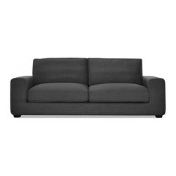 """Interior Define - Kelley 87"""" modern sofa - Interior Define's unique approach bypasses unnecessary middlemen and markups to provide high-quality, price-friendly, and made-to-order designs. The Kelley is one of our most popular sofas given its great style, comfort, and customization options. This contemporary loveseat provides a deep, soft seat consisting of a high-resilience foam core topped with a generous layer of down. Its plush cushions embrace you, but recover nicely once you stand up. The couch's arms are padded to support your head and back. The Kelley combines elements of modern and traditional style. It is available in a variety of configurations and can be made in over 40 fabric options. Standard dimensions: 87""""W x 39""""D x 33""""H."""