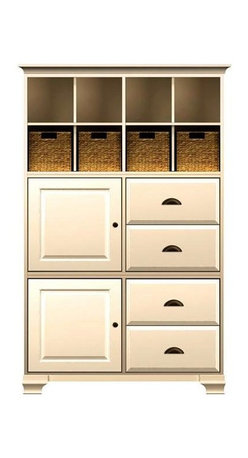 Howard Miller Custom - Ava Cabinet w 4 Baskets in Antique Vanilla - This cabinet is finished in Antique Vanilla on select Hardwoods and Veneers, with Antique Brass hardware. 2 beveled panel doors. 2 cross storage shelf and 4 small woven baskets. 2 adjustable interior shelves. 4 raised panel drawers. Cove profile top and Ogee profile base. Hardware: Antique Brass knobs on doors and cup pulls on drawers. Features soft-close doors, metal drawer glides, and metal shelf clips. Simple assembly required. 50 1/4 in. W x 17 in. D x 78 in. H