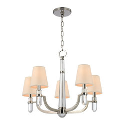 Hudson Valley - 5 Light Chandelier - Dayton's strong arms hold smooth crystal columns, for a look of confident glamour. The chandelier's central crystal teardrop showcases the material's pristine beauty. Softly textured tailored shades balance the sheen of Dayton's glass and metal. Bright and reflective, Polished Nickel invokes a current sensibility that is tempered by its welcoming, warm tone. Flat planes possess mirror-depth in this plating, while curves show their lively contours. Polished Nickel also highlights the versatility