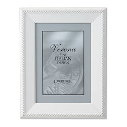 Lawrence Frames - Lightly Distressed 8x10 Picture Frame - Outer Rope Design - Beautiful lightly distressed white wood picture frame.  Outside edge is bordered with a delicate rope pattern.  High quality hand finished frame has a casual but elegant decorative look.  High quality black velvet backing.  Frame can stand vertically or horizontally and comes with hangers for horizontal or vertical wall mounting.   Individually boxed.