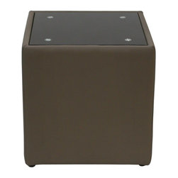 """Diamond Sofa - Steel Bonded Leather End Table with Glass Top - """"The Steel Collection by Diamond Sofa brings a chic, yet simplistically classy addition to any room's decor with this Mink Brown Leather End Table finished with a Black Oiled Glass Top. Functional for any room in the home, it oozes style and delivers fashionable function to your home's decor."""