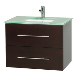 """Wyndham Collection - Centra 30"""" Espresso Single Vanity, Countertop, Undermount Square Sink, No Mirror - Simplicity and elegance combine in the perfect lines of the Centra vanity by the Wyndham Collection. If cutting-edge contemporary design is your style then the Centra vanity is for you - modern, chic and built to last a lifetime. Available with green glass, pure white man-made stone, ivory marble or white carrera marble counters, with stunning vessel or undermount sink(s) and matching mirror(s). Featuring soft close door hinges, drawer glides, and meticulously finished with brushed chrome hardware. The attention to detail on this beautiful vanity is second to none."""