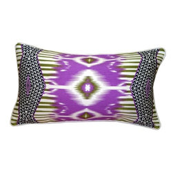 Pillow Decor - Pillow Decor - Electric Ikat 15x27 Throw Pillow - Electrify your decor with this stunning contemporary purple Ikat design throw pillow. Made from a wonderfully rich and soft 70% linen blend fabric, this pillow will beg for a place of prominence within your home. The large rectangular size makes it perfect for a finishing piece on a bed, window seat or special chair.