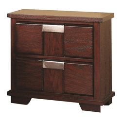 Coaster - Coaster Hyland Two Drawer Nightstand - Coaster - Nightstands - 202242 - You'll be set with this nightstand at your bedside. The piece carries a beautiful dark cherry finish and features sleek lines as well as brushed metal drawer handles for a beautiful contrasting look. In addition the two drawers are wonderful for keeping books magazines pens diaries lotions and alarm clocks. Simple yet stunning this night stand is sure to please.