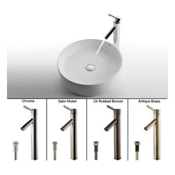 Kraus - Kraus White Round Ceramic Sink and Sheven Faucet Satin Nickel - *Add a touch of elegance to your bathroom with a ceramic sink combo from Kraus