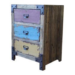 International Caravan - International Caravan Vintage Multicolored 3-Drawer Lamp Table - International caravan - End Tables - 61B12A003 - This antique Vintage Multi-Color Three-Drawer Chest can easily add a touch of timelessness to your indoor furnishings. This piece is in a striking tri-color reproduction style with a durable three-drawer wood build.
