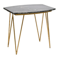 "Worlds Away - Worlds Away Suzy Black Marble Gold Side Table - In a designer play on slender and solid, Worlds Away tops this hairpin side table with an impressive marble. The variegated nature of Neal's marble top contrasts with mid-century-inspired gold leaf base for a textural delight. 26""W x 20""D x 24""H; Black variegated solid marble, gold leaf; Natural variations in the marble are expected"