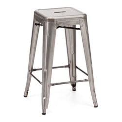 ZUO - Marius Counter Stool - Gunmetal - Simple can make any room pop. The solid steel frame of the Marius Counter Stool is finished in a rustic antique black with gold accents makes basic beautiful. Perfect for all your room-popping needs.