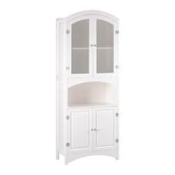 KOOLEKOO - Linen Cabinet - A classic design refashioned with sophistication using silver-finished magnetic hardware and veiled glass doors. This wood cabinet is a stately home for towels, sheets and more.